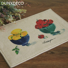 DUNXDECO 1PC 19x29cm French Romantic Vintage Fruit Print Linen Cotton Table Placemat Store Table Mat Kitchen Party Decoration