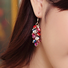 famous brand plant women jewelry colors beads Bohemia tassel party dinner crystal earrings element Korea female girlfriend gift