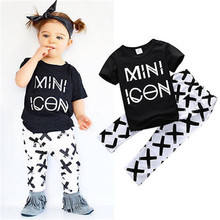 New fall Autumn Baby boy clothes infant cotton letter printed Short sleeve t-shirt +Long pants 2pcs suit baby girl clothing sets