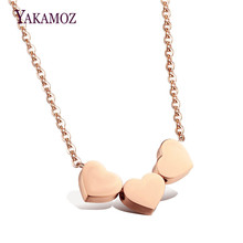 YAKAMOZ Fashion Rose Gold Plate Pendant Chain Necklace Stainless Steel Jewelry Love Heart Choker Necklaces for Women Personality