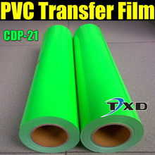 Fluorescence green pvc heat transfer film 0.5*25m for one roll with free shipping CDP-21 COLOR