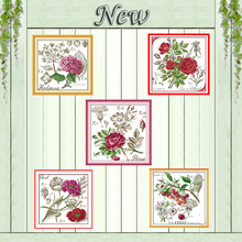 Hydrangea Shadows of flowers rose Poppy Cherry Counted Print on canvas DMC 11CT 14CT Cross Stitch kits Needlework Sets embroider
