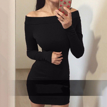 Buy Autumn winter Long Sleeve Dresses Sexy Shoulder Bodycon Party Dresses Women Dress Robe Vestidos plus size 2016 for $5.49 in AliExpress store
