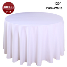 "10PC/Lot  Polyester Table Linen 120"" Table Cover Round Rustic Handmade Table Cloth of Wedding Decorative Home Party Hotel Linen"