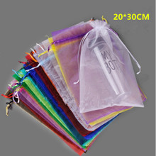 Wholesale Organza Bag 20x30 cm Jewelry Packaging Display Pouches Wedding Christmas Gift Bags jewelry bags & Pouches 100pcs/lot(China)