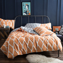 Papa&Mima Orange lattice Printed Bedlinen Cotton Bedding Sets Queen King Full Size Quilt Cover Set
