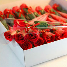 36pc/box Single Rose Soap Flower With A Diamond Gift For Valentine's Day Birthday Wedding Decoration
