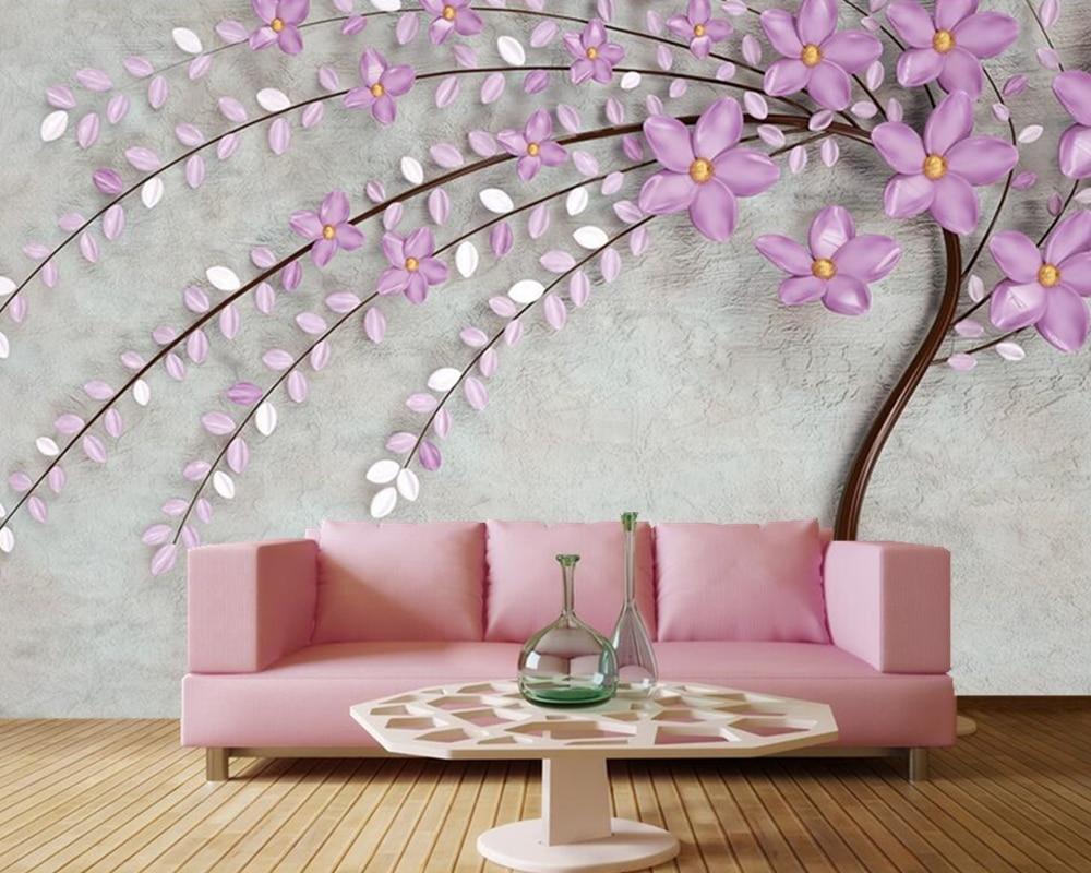 Custom 3d wallpaper elegant purple tree flower,living room TV background sofa wall bedroom restaurant  mural papel de parede<br>