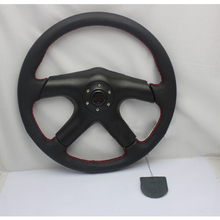 "M0M0 Drift 14"" 350mm Genuine Suede Leather Deep Dish Steering Wheel + Horn Button Auto Black Fit OMP SPC MOMO Boss Kit(China)"