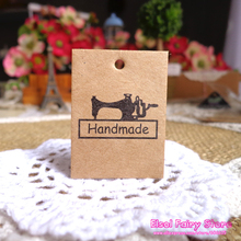 300pcs String Included 3x4cm Vintage Sewing Machine Mini Kraft Blank Paper Cards Hang tag Gift tag For Party Favor Bag Box Decor