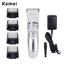 Kemei Rechargeable Hair Trimmer Electric Hair Clipper Shaver Trimmer Men Shaving Machine Replacement Titanium Clipper Blade(China)