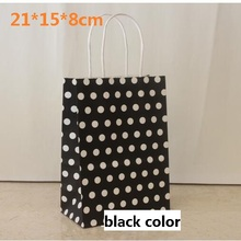 10PCS/lot 21*15*8cm Black with white Dots kraft paper gift bag with handles Festival gift bags for birthday multifunction bags(China)