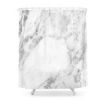 WARM TOUR White Marble Hexagonal Beehive Shower Curtain