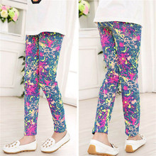 New girl pants new arrive printing Flower girls leggings Toddler Classic Leggings 2-14Ybaby girls leggings kids leggings Blue(China)