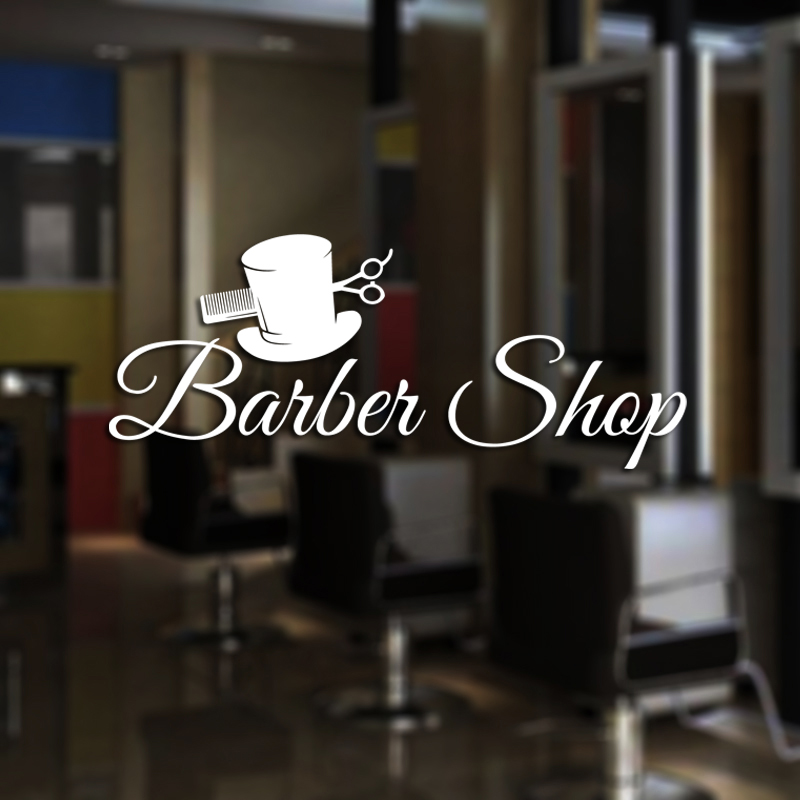 Barber Shop Sticker Name Time Chop Bread Decal Haircut Shavers Posters Vinyl Wall Art Decals Windows Decoration Mural Mb035