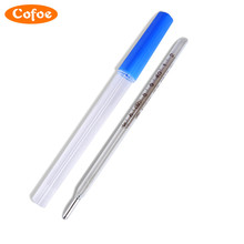 Cofoe  Hot Sale 2pcs Classical Mercury Glass Thermometers Clinical Medical Temperature Measurement
