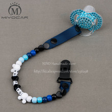 Buy MIYOCAR Personalised -Any name 2016 Hand made blue white beads dummy clip holder pacifier clips soother chain baby for $5.70 in AliExpress store