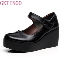 Buy 2018 Spring Leather Women Pumps Platform Wedges Round Toes Ankle Strap Black High Heels Women Shoes for $25.55 in AliExpress store