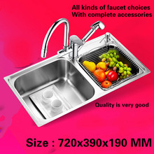 Free shipping kitchen sink food grade 304 stainless steel normal double groove hot sell 720x390 MM(China)