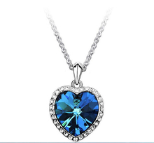 Classic Fashion Titanic Heart Of Ocean Necklace Heart Pendant Necklace Zircon Luxury Necklace C254