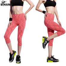 BINAND Dyed Yoga Capris Running High Elasticity Fitness Sports Pants Exercise Gym Quick Dry Pants Outdoors Breathable Leggings