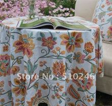 140x140cm linen cotton flower printed orange beautiful home decoration hometextile desk table linen table cover tablecloth
