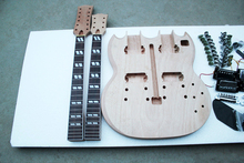 Special Price Double Neck Electric Guitar Kit(Parts) with All Hardwares,Rosewood Fretboard,Mahogany Neck,Offer Customized(China)