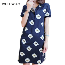 2016 Summer Women Floral Printed Polo Dress Loose Plus Size Casual Dress Short Sleeve Pencil Dress Cotton Flower Dress 036