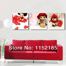 Pop Cartoon Girl Picture Canvas Wall Art Home Decoration 3 Pieces Canvas Wall Picture For Children Kids Room Painting By Numbers