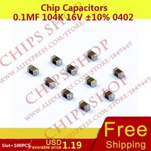 1LOT=100PCS Chip Capacitors 0.1uF 104K 16V 10% 0402 100nF 100000pF Package0402 (1005 Metric) SMD