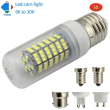 Viewi 5X ampolletas led 12v 24v corn bulb E12 E14 E27 E26 B22 GU10 G9 home lights 2835 120 leds 10w 12 to 24 volt energy saving(China)
