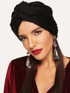 MOLANS Turban Headband Hair-Scarfs Knot Knitting Solid-Center-Cross Autumn Winter Women