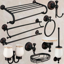 Antique Black Oil Rubbed Bathroom Accessories European Brass Bath Hardware Carved Brushed Bathroom Products