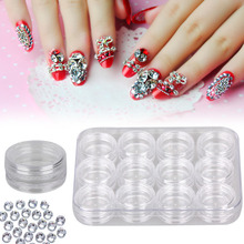 12pcs Empty manicure case box for rhinestones Plastic Powder Paillette Rhinestones for a manicure container for rhinestones(China)