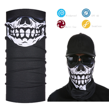 Skull Head/Face/Mask/Neck Multi-wear tube Bandana Black Skull Tube Face Mask