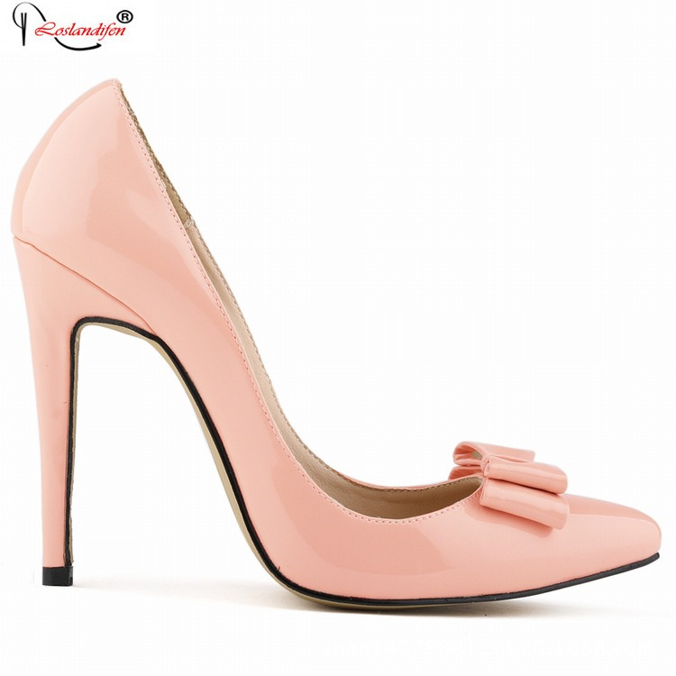 2016 Spring Women Black Slip On Dress Pumps Fashion Bow Patent Leather Ladies Famous Hot Shoes SMYNLK-B0060<br><br>Aliexpress