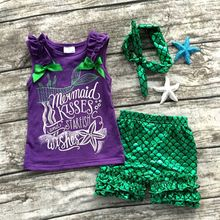 retai girls mermaid clothing purple green scale boutique Suit starfish kids sleeveless clothes with bow set