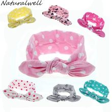 Buy Naturalwell Baby Girls Top Knot Headband Children Rabbit Ear Turban Headwrap Elastic Dots Printing Hair Bands Accessories HB456 for $1.00 in AliExpress store