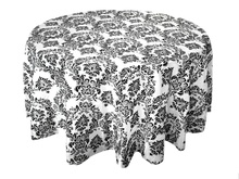 10PCS 120 inch Round Black White Flocking Damask Table tablecloths For Wedding Table Linen Banquet Party Decorations