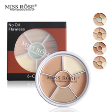 Miss Rose Brand Makeup 6 Color Concealer Cream Palette Set Block Defect Blemish Pores Gel Corrector Contour Bronzer Face Cheek(China)