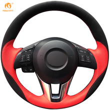MEWANT Red Leather Black Suede Car Steering Wheel Cover for Mazda 3 Axela 2013-2016 Mazda 6 Atenza 2014-2017 Mazda 2 2015-2017