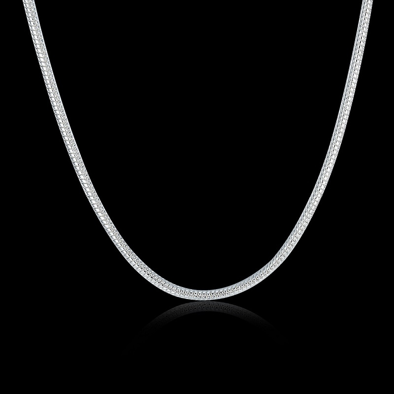 Women-Charms-Chain-Necklaces-Silver-Filled-Fashion-Jewelry-16inches-18inches-20inches-22inches-24inches-Snake-Chains-Necklace