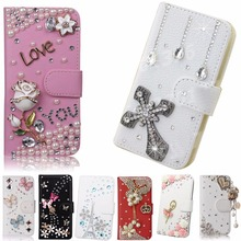 Fashion PU Leather Diamond Crystal Rhinestone DIY Handmade Purse Flip Card Pouch Protective Bling phone Cover For galaxy J2 J200(China)