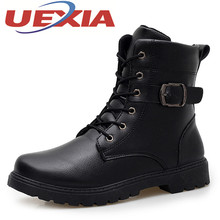 Men Casual Ankle Boots Winter High Top Shoes Martin Boots Man Trainers Military Warm Boots Outdoor Fashion Black Pu Leather Shoe(China)