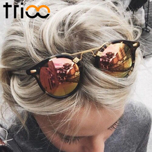 TRIOO Mirror Round Ladies Sunglasses Color Lens Special Designer Oval Lunette UV400 Protective Eyewear Sun Glasses For Women(China)