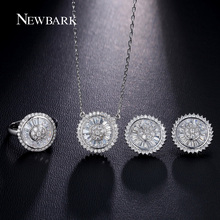 NEWBARK Unique Sun Shaped Jewelry Sets Round Cubic Zirconia Silver Color Best Gift Set Women Wedding Bijoux Femme