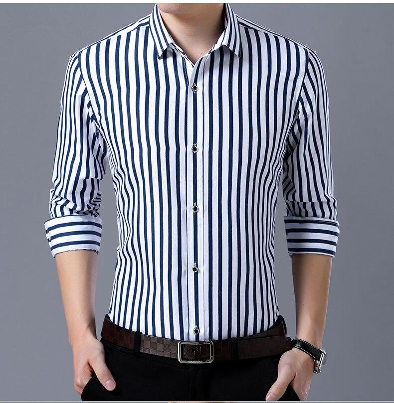 2018 New Men's Striped Male Shirts Cotton Men Shirt Mens Clothing Chemise Social casual Slim fit Dress Homme Shirts men K036 3