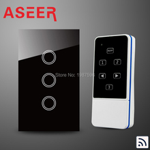 ASEER US/AU Standard 3 Gang Capacitive Touch Glass Panel Wireless Electrical Touch Light Switch with Remote Control RF 433Mhz