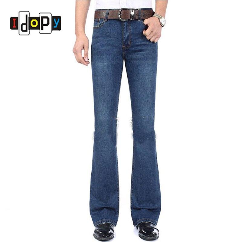 Fashion Mens Bell Bottom Jeans Business Blue Mid Waist Slim Fit Boot Cut Semi-flared Flare Leg Denim Pants Plus SizeОдежда и ак�е��уары<br><br><br>Aliexpress