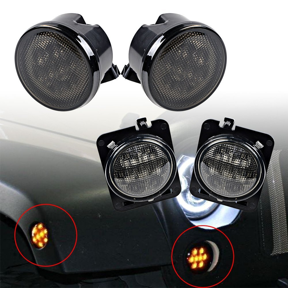 Wrangler Smoke Lens Amber LED Front Replacement Turn Signal Light + Fender Side Marker Light For 2007-2017 Jeep Wrangler JK JKU<br>